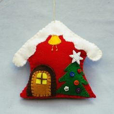 Christmas ornaments from felt. I've used some small detail as well occasionally. Good for decorating and play.