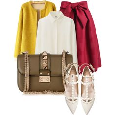A fashion look from February 2015 featuring Uniqlo blouses, Valentino flats and Valentino shoulder bags. Browse and shop related looks.