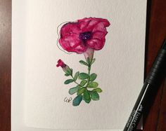 Single Purple Hydrangea Watercolor Card / Hand by gardenblooms