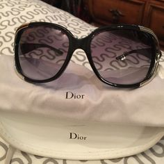 Authentic Dior  sunglasses Authentic Dior sunglasses purchased at Saks black/sliver Dior Accessories Sunglasses