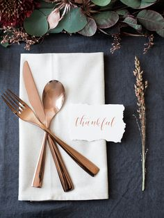 "Simple & Elegant Thanksgiving Inspiration - Lindsey Brunk -- love the ""thankful"" card"