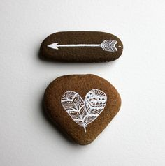 Heart and Arrow Painted Stone Set - Feather Art @ etsy seller RiverLuna LOVE these they are gorgeous!