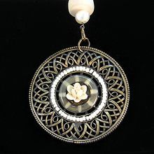Fresh Water Pearl Necklace With Brass Tone Filagree Pendant - BOGO SALE STARTS TODAY!!!!