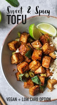 recipes meal prep Sweet & Spicy Tofu So happy to have received this Vegan Recipes ! So yummy and tasty! Easy Healthy Recipes, Potato Recipes, Vegetable Recipes, Simple Recipes, Vegetarian Recipes For Beginners, Tofu Dishes, Healthy Food To Lose Weight, Reduce Weight, Recipes