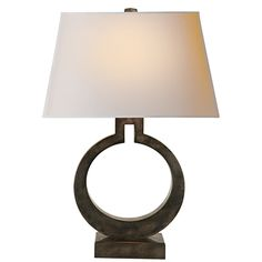 Ring Form Large Table Lamp in Sheffield Nickel with Natural Paper Shade