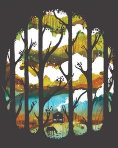 Prado, árboles, naturaleza, colores