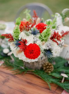 Plaid and evergreen accents, cotton bolls, cranberries and pinecones everywhere all these winter wedding decorations will make your big day fabulous! Plaid Wedding, Floral Wedding, Our Wedding, Wedding Flowers, Wedding Ideas, Wedding Stuff, Wedding Inspiration, Winter Wedding Decorations, Wedding Table Centerpieces