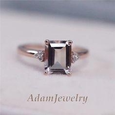 14K Rose Gold Wedding Ring 7x9mm Emerald Cut Morganite H/SI Diamond Claw Prongs