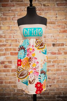 Backyard Wedding BRIDE DressTeal/Pink floral by thearmorofGod, $49.00