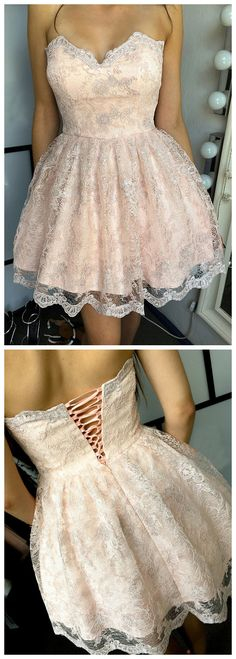 Homecoming Dress,A-line Homecoming Dresses,Lace Homecoming Dress,Pink Homecoming Dresses,Short #Short Homecoming Dress#HomecomingDresses#Short PromDresses#Short CocktailDresses#HomecomingDresses