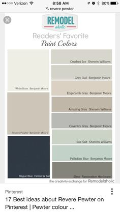 Sea salt or Palladian for kitchen and laundry Beautiful Wall Paint Color By Revere Pewter: Greige Paint Benjamin Moore Paint Color Schemes, Wall Paint Colors, Exterior Paint Colors, Paint Colors For Home, House Colors, Deck Colors, Wall Exterior, Exterior Design, Wythe Blue