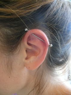 industrial piercing  I think I'm going to get one on my left ear. Its $60 so I may have to save up one more week, but it will be worth it. (: