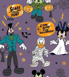 Disney Mickey & Friends Halloween Fleece Fabric - Scare Up Fun Mickey Halloween Party, Halloween School Treats, Halloween Season, Easy Halloween, Disney Halloween Decorations, Disneyland Halloween, Halloween Fabric, Halloween Stuff, Holiday Decorations