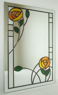 Rose Mirror, Mackintosh-style Stained Glass Mirror, Stained Glass Flowers, Stained Glass Designs, Stained Glass Panels, Stained Glass Projects, Stained Glass Patterns, Leaded Glass, Mosaic Glass, Glass Mirrors