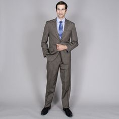 Men's Blue 2-button Wool and Blend Suit