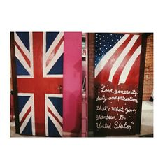 England flag painted door and the United States