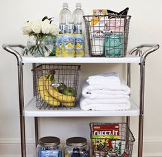 Guest Bedroom Cart! What a good idea. You can have all the things your guest might need. Towels, snacks and toiletries