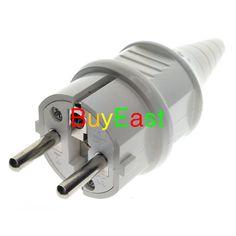 Schuko Type F European 4.8mm Pin Rewireable Power Plug Max. 250V 16A White Color
