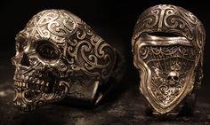 Hemonga Skullring (Sterling Silver) By:  www.BookofAlchemy.com Skull Jewelry, Jewelry Rings, Jewelry Accessories, Armures, Ring Bracelet, Bracelets, Ring Designs, Custom Jewelry, Biker Rings