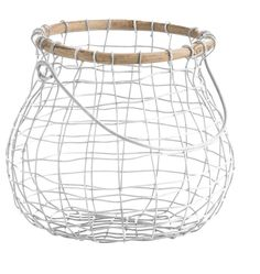White Wire & Wood Egg Basket - New