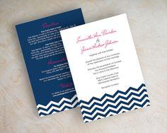 Chevron wedding invitations, chevron invites, chevron wedding stationery, wedding invitation, fuchsia and navy blue, charcoal gray, chevron. By www.appleberryink.com $47.00