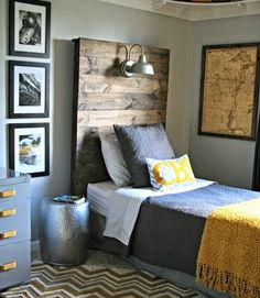 ... A Rustic Headboard With A Light Fixture By Chic On A Shoestring  Decorating  Says For A Bigger Boy Room, But Iu0027ll Adapt That Idea For The  Master Bedroom!