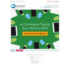 Newsletter o trendach w ecommerce nie może być promowany za pomocą zwykłej grafiki. Grafika również musi być trendy. I jest! W tym przypadku Sendingo zainspirował motyw kalejdoskopu #design #divante #template #ecommerce #email