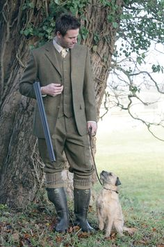 All decked out in Country Tweeds and green wellingtons