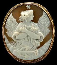 Carved Shell Cameo Brooch Depicting An Angel With Crossed Arms, Anchor Beneath, Gold Filled Roped Bezel Mounts    c.1850-1900  -  Prices4Antiques