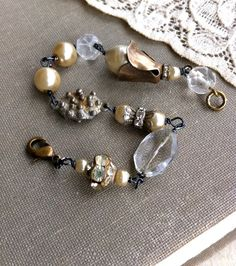 Isabelle. vintage style rhinestone/pearl/glass beaded bracelet. Tiedupmemories