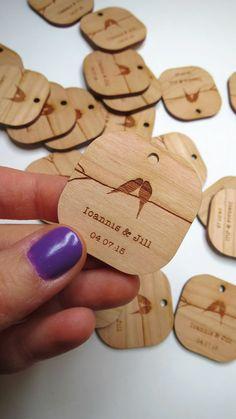 50 - 1.5 x 1.5 Birds Kissing Wedding Tags - Custom Wedding Tags - Wood Wedding Tags