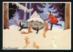 Rudolf Koivu, tyttö+oravat+linnut piirileikissä - 2 € - Joulukortit - Postikortit - Keräily - Huuto.net - (avoin)