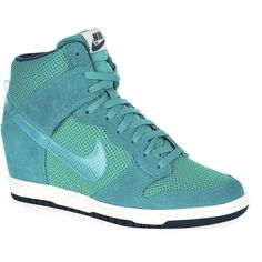 buy popular 64844 8c548 Nike Dunk Sky Hi Essential Trainer (350 BRL) ❤ liked on Polyvore featuring  shoes, sneakers, nike trainers, clear shoes, turquoise shoes, nike footwear  and ...