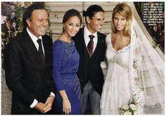 Топмоделът Чариз Верхерт блести в тоалет на Pronovias на сватбата си с Хулио Хосе Иглесиас заедно с родителите му - Исабела Прайслер (в Pronovias) и баща му - Хулио Иглесиас