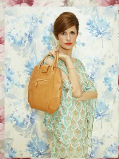 Livia Firth in Beach Candy's Butterfly Kaftan for Yoox.com and Eco Age