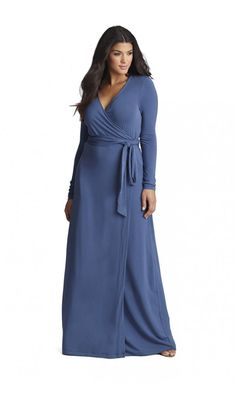 Mynt 1792 Jersey Wrap Maxi Dress (Plus Size) Curvy Girl Fashion, Plus Size Fashion, Womens Fashion, Plus Size Maxi Dresses, Plus Size Outfits, 1920s Outfits, Plus Size Kleidung, Vestido Casual, Blue Maxi