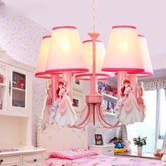 Cute Pink Princess Chandelier Fashion Girls Room Fabric Pendent Lamps Kid's Bedroom Pendant Light Fixtures