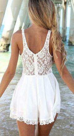 1124cad6dbbda Short Playsuit, Lace Playsuit, Short Jumpsuit, Lace Dress, Summer Jumpsuit,  White