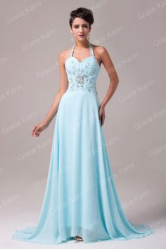 Halter Floral Beaded Long Evening Party Cocktail Prom Dress Pageant Grace Karin | eBay
