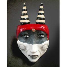 """Past Tense"" Small Ceramic Mask Sculpture, Face Pendant  http://maskwoman.bigcartel.com"