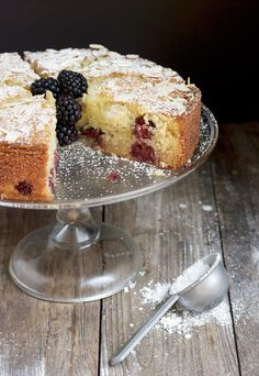 Blackberry Almond Cake - moist, light and full of fruit. Perfect any time of day and great for summer entertaining.