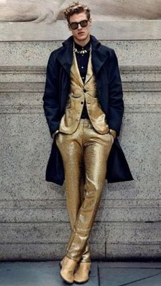 Men's gold suit- We all put on our pants one leg at a time... only when I put them on... I make gold records.
