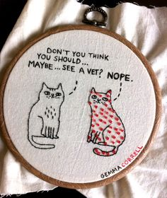 Gemma Correll embroidery, embroidered text, like the hand drawn, scribbled look