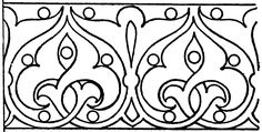 The painted link border is a design found in a Cathedral in Brandenburg, Germany. It is a scroll design of leaves connected like a chain. Border Pattern, Pattern Art, Pattern Design, Etnic Pattern, Hand Embroidery Designs, Diy Embroidery, Embroidery Patterns, Islamic Art Pattern, Arabic Pattern