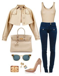 """""""Come Through"""" by fashionkill21 ❤ liked on Polyvore featuring moda, iHeart, Burberry, Balmain, Hermès, Christian Louboutin y Oliver Peoples"""