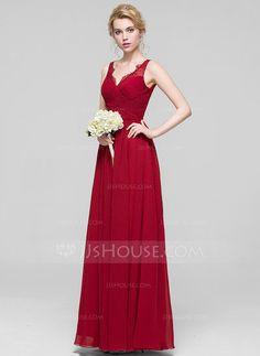 A-Line/Princess V-neck Floor-Length Chiffon Bridesmaid Dress With Ruffle Lace (007090198)