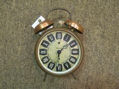 Vintage Wedgefield Gold Tone Hand Wind Alarm Clock West Germany