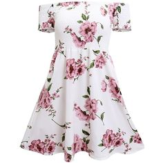 Hibluco Women's Casual Short Sleeve Off Shoulder Floral Print A-Line... ❤ liked on Polyvore featuring dresses, white day dress, short-sleeve dresses, white a line dress, off the shoulder floral dress and floral a line dress