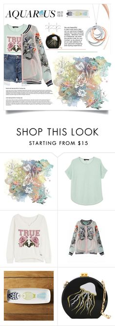 """""""Mint and Peach"""" by pear-drop ❤ liked on Polyvore featuring Tiffany & Co., 360 Sweater, True Religion, Crate and Barrel, Edie Parker, Rock 'N Rose, fashionhoroscope and stylehoroscope"""