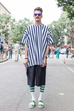 stripes top   #fashion #streetstyle   http://lkl.st/ZhNsrT   See more on https://www.lookli.st #Looklist